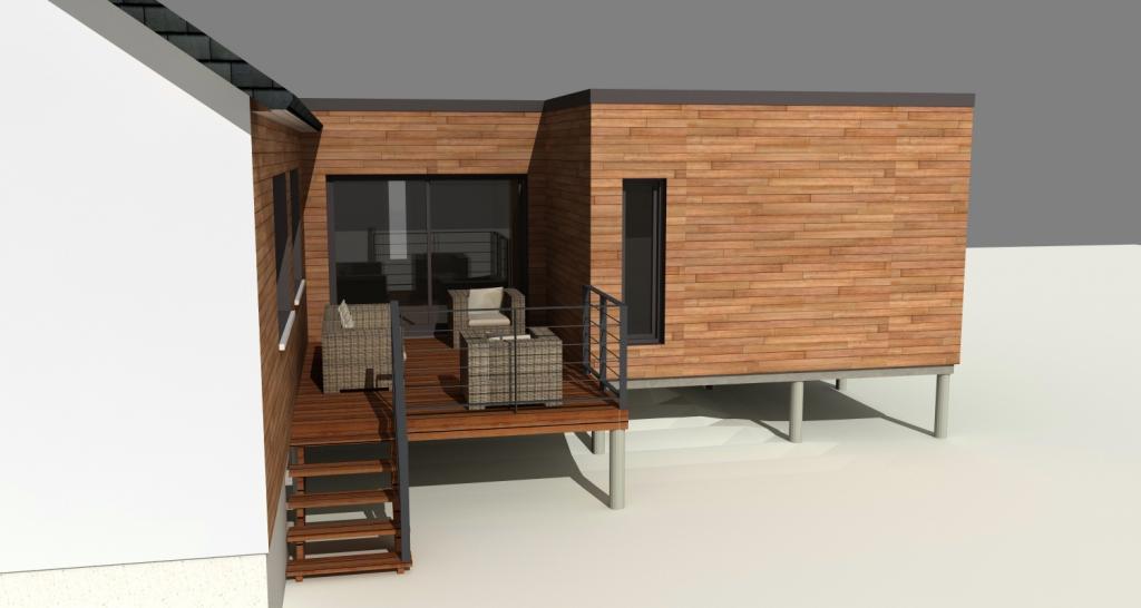 Projet en cours - Extension sur pieux avec terrasse extérieure.