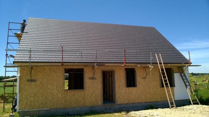 Construction ossature bois avec ravalement - Façade avant
